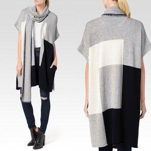 PAIGE Ruth Wrap Cape Wool Long Line Sweater M/L